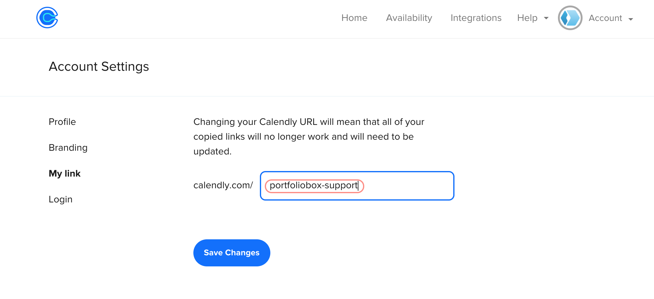 Get the URL from Calendly